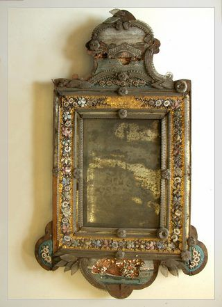 Venetian mirror with micrmosaic frame before conservation