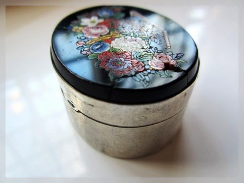 small size vintage micromosaic inlay silver box