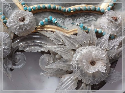 antique Venetian mirror with Murano glass beads