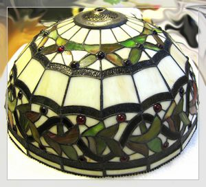 Glass lampshade with Tiffany style