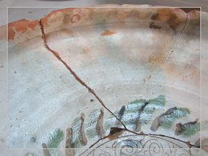 folk pottery - Engobed clay plate