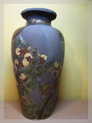 hand-painted antique ceramic vase - eosin technique by Zsolnay