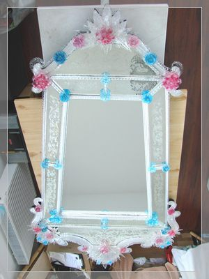 Venetian mirror with coloured glass decoration