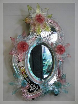 Desktop standing Murano mirror with coloured glass ornamets